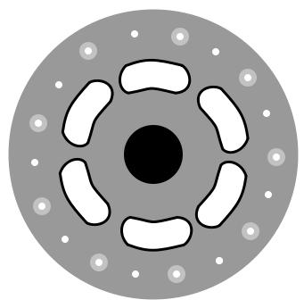 Hub countersinking, straight view