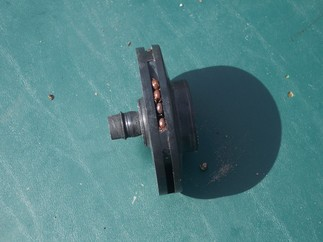 Side view of clogged impeller