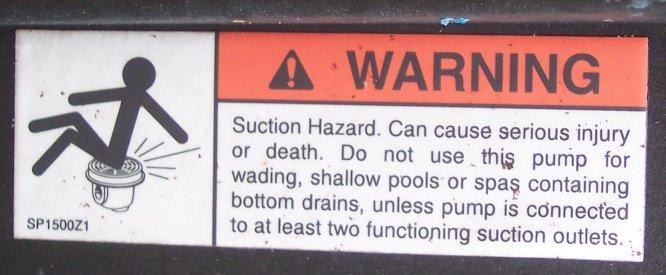 Suction danger label